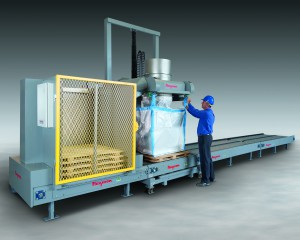 Ultra-Heavy-Duty Bulk Bag Filling System with Pallet Dispenser and Powered Chain Conveyor allows safe, high capacity filling of difficult-to-handle bulk materials